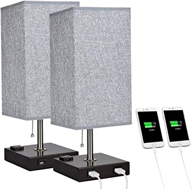 DLLT Modern USB Table Lamp with Dual Charging Ports, Bedside Desk Lamp, Square Grey Fabric Shade Nightstand Light with Metal
