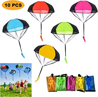 SUPRBIRD Parachute Toy 10Pieces Children's Flying Toys Tangle Free Throwing Hand Throw Parachute Army Man Toss It Up and Watching Landing Outdoor Toys for Kids Gifts