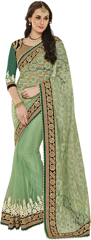 INMONARCH Womens Victorious Look Light Green Net Jacquard Saree SSA3422