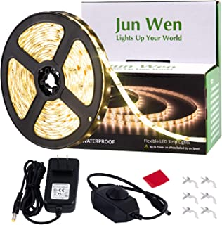 Dimmable LED Light Strip Kit,JUNWEN Warm White Rope Lights,Waterproof 16.4 FT/5M Tape Lights 300 Units SMD 2835 12V LED Ribbon with Power Supply for Home Kitchen Bar Clubs