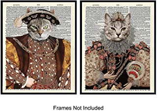 Cats Dictionary Wall Art Print Set - Funny Retro Home Decor Perfect for Bedroom, Den, Living Room, Kids Room, Office and a Great Gift for Kitty and Renaissance Lovers - 8x10 Photos - Unframed Vintage