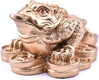Feng Shui Mini Money Frog Coin Toad/Chan Chu Chinese Prosperity Home Decoration Gift (Gold)