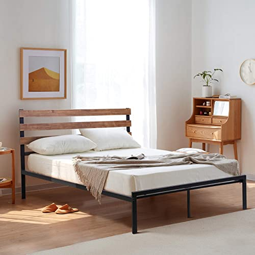 2021 Giantex online Metal Bed Frame Full Size, Platform Bed with Headboard, Heavy Duty Mattress Foundation, Wooden Slat Support & Under outlet online sale Bed Storage, No Box Spring Needed, Easy Assembly (Full) online