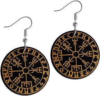 Chic-Net Orecchini in legno di Sono, rotondi, in acciaio inox e argento, con incisione dorata, con fiore Om e albero della...