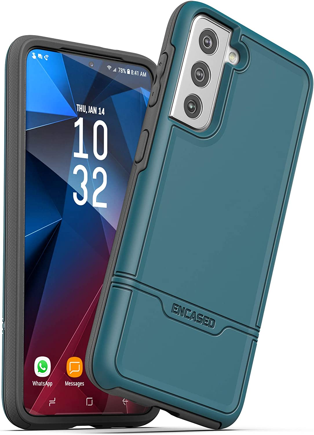 Encased Rebel Series Designed for Samsung Galaxy S21 Case, Heavy Duty Protective Phone Case (Teal Blue)