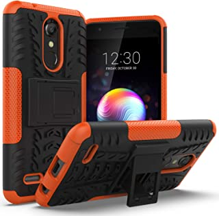 LG K30 Case,LG Phoenix Plus Case,LG Premier Pro LTE,LG Harmony 2 Case with Kickstand Holder,AZHEPU Dual Layer Shock Absorbing Rugged Armor Protective Phone Cover Case for LG K10 2018 Orange