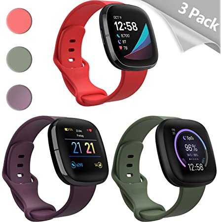 Soft Silicone Sport Strap Replacement Wristband with TPU Screen Protector case Accessories for Fitbit Versa 2 SmartWatch Mocodi Versa 2 Band and case Compatible with Fitbit Versa 2 for Women Men