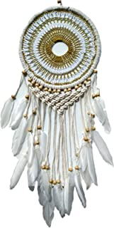 Theworldoffeathers Boho Dream Catchers Handmade Cream Feather Dreamcatchers with Crochet for Wall Hanging Decoration, Wedding Decoration Craft (Dia 8.5