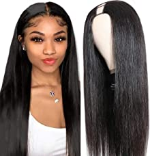 UNICE 10A Straight U Part Wig Human Hair for Black Women Brazilian Virgin Hair Glueless None Lace Front Human Hair Leave Out Wig Full Head Clip in Half Wig 150% Density 18inch