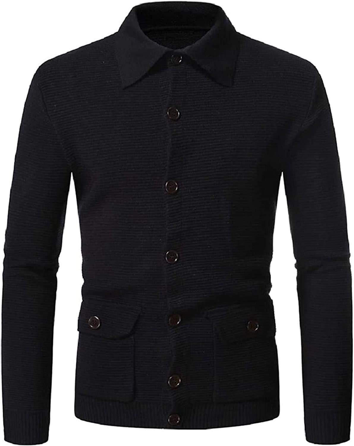 Men's Knit Slim Solid Color Pockets Button Fashion Cardigan Sweater