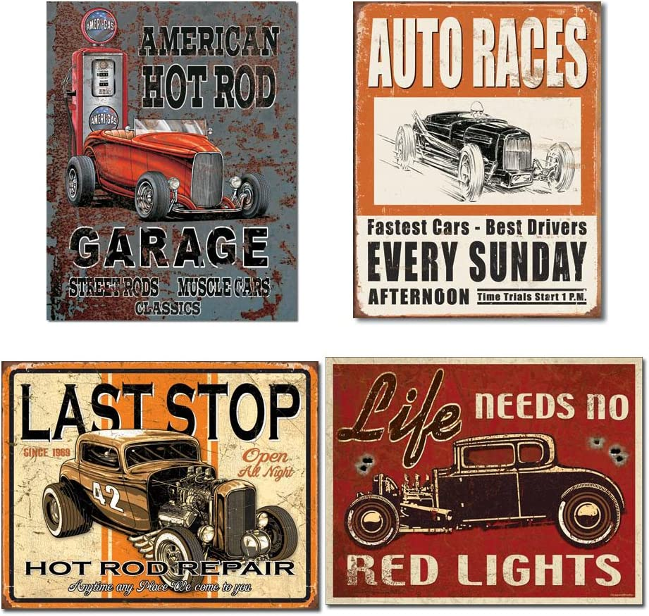 Vintage Hot Rod Garage Tin Max 90% OFF Signs - American Legends Nashville-Davidson Mall Bundle R