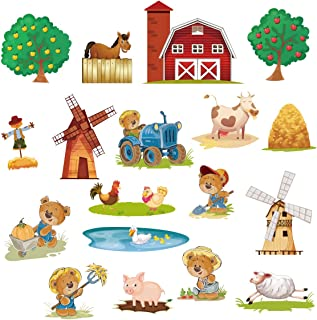 decalmile Farm Animals Wall Stickers Bear Kids Wall Decals Baby Nursery Bedroom Wall Decor