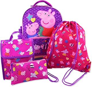 Girls 5 piece Backpack and Snack Bag School Set (One Size, Pink/Purple)