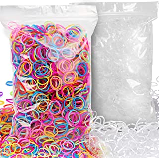 4000pcs Elastic Hair Ties, YGDZ 2000pcs Clear Mini Toddlers Rubber Bands & 2000pcs Colored Small Elastic Hair Bands for Baby Girls Women