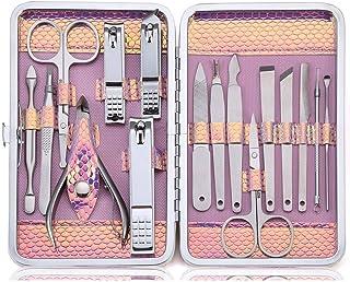 ネイルケア16点セット爪切りキットグルーミングペディキュアステンレス製ピンク