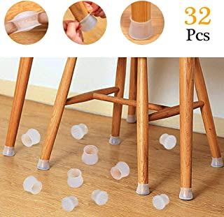 AVNICUD 32 Pcs Chair Leg Caps,Protect Hard Floor,Chair Leg Covers,Prevents Scratches and Noise,Silicon Transparent Protection Cover
