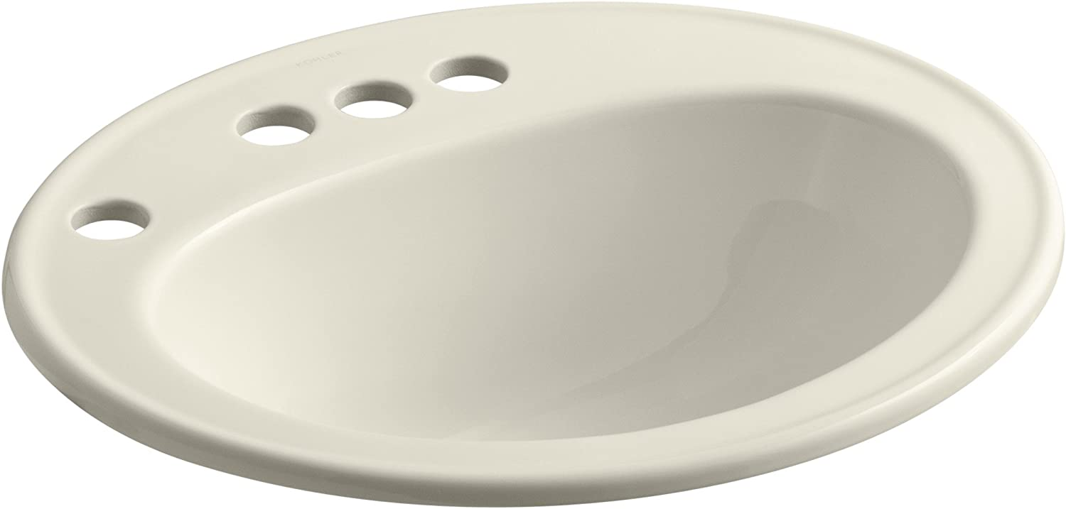 Kohler K-2196-4L-47 Pennington Self-Rimming Lavatory With 4  Centers With Left-Hand Soap Lotion Dispenser Hole Drilling, Almond