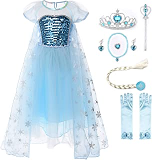 Girl Princess Elsa Costume Sequin Mesh Party Dress with Sleeve