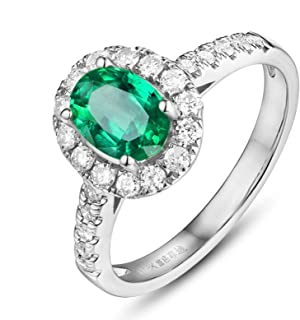 18K Gold Ring Oval Natural Emerald Shape Women Solitaire Ring Engagement Ring with Green Emerald