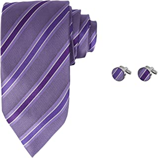 Y&G Men's Fashion Multi-Colored Neck Tie Stripes Accessories Gift Mens Silk Tie Cufflinks Set 2PT