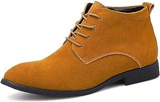 ZRH Chaussures Homme Hiver Chelsea Bottes for Hommes Courtes Chaussures Tube Round Pull Toe en Cuir Véritable Daim Semelle...