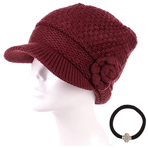 074caa2ed50ba MIRMARU Women s Winter Cable Knitted Beret Visor Beanie Hat with Scrunchy.