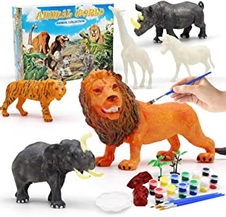 Feleph Animal Painting Kit, Arts and Crafts Supplies for Boys Girls Paint Your Own Toys Set 6Pcs Paintable Figurines, Part...