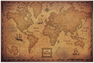 Map of the World (Poster) Conquest Maps - Antique Vintage Map decor-Travels & Adventures! Quality matte paper - pirate style world treasure map - City/State/Country Labels - 2015 Data (48 x 32 Inches)