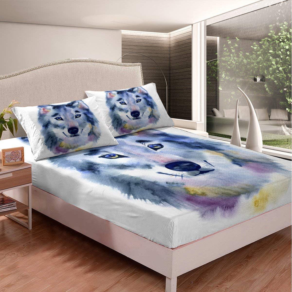 Erosebridal Wolf Fitted Sheet Tie 豪華な Bed Be Gray 本日の目玉 Set Dye