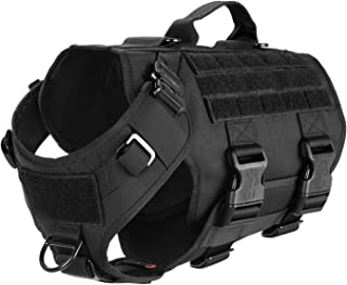 ICEFANG Tactical K9 Operation Harness,Working Dog MOLLE Vest,3/4 Body Coverage,Hook and Loop Panel for ID Military Badge Patch,Reinforced Handle,No Pulling Front Clip