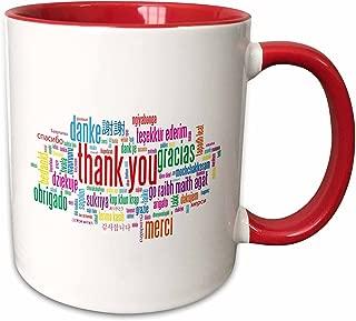 3dRose 193340_5 Thank You Merci Gracias Two Tone Mug, 11 oz, Red