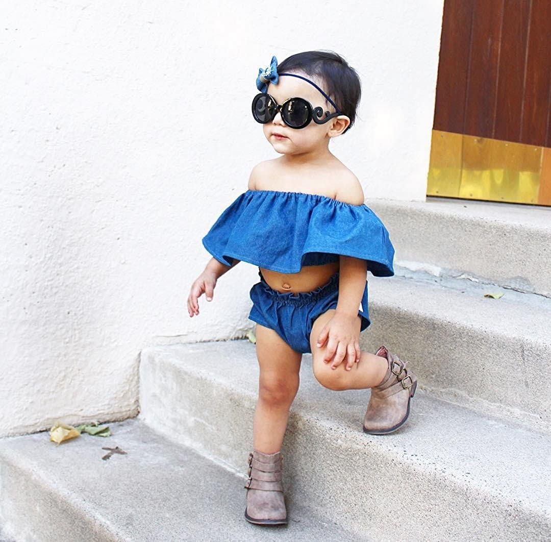 2017 Baby Girls Blue Off Shoulder Tube Top Shorts 2 Pcs Outfits Sets Baby Girl Clothes
