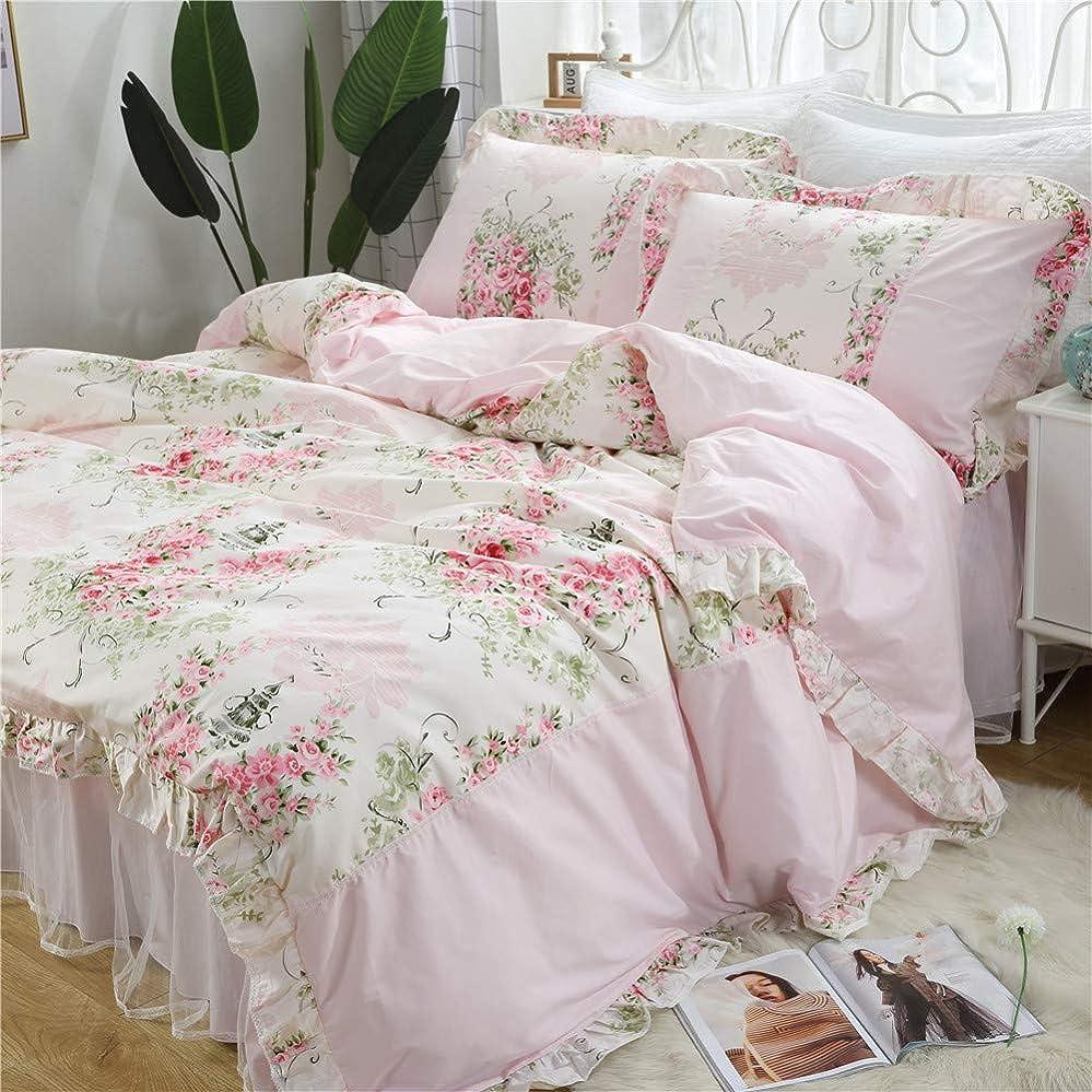過度のチャールズキージング擁するピンク薔薇柄 韓式姫系 布団カバー3点セット 掛け布団カバー 枕カバー 超綺麗 淑女 乙女