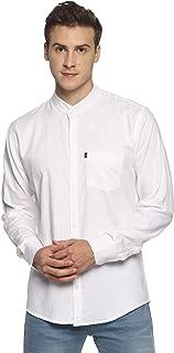 LEVIZO Men's Band Collar 100% Cotton Chinese Collar Plain Full Sleeves Regular Fit Shirt