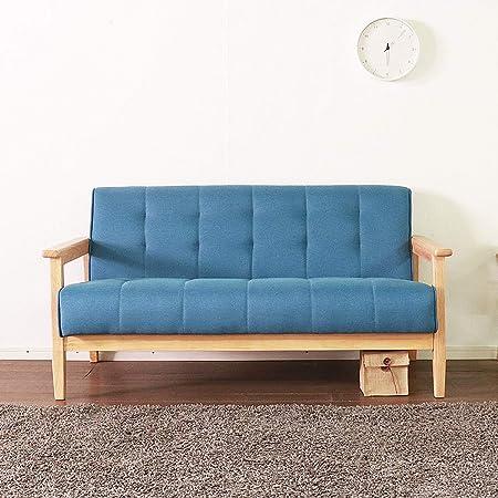 ソファ 2人掛けソファー カウチ 肘付き 天然木脚 幅約135cm レトロモダン 一人暮らし ファブリック素材 生地 ブルー