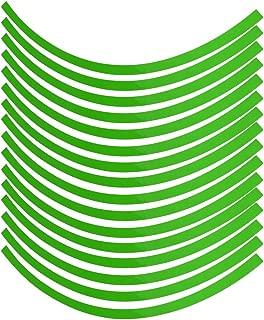 Terisass Car Motorcycel Wheel Reflective Pinstripe Decal Tape Sticker Decoration Film Sticker Fluorescent Reflective Car Decals 6 Colors Universal(Fluorescent Green)