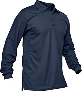TACVASEN アウトドア カジュアルシャツ メンズ ゴルフウェア 通気性 長袖 ポロシャツ 無地 ロングスリーブ シャツ 通勤 トップス スポーツ ボタン オールシーズン