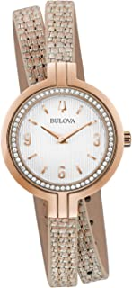 Bulova RhapsodyQuartz Ladies Watch, Stainless Steel with Rose Gold-Tone Leather StrapDiamond, Two-Tone (Model: 98R279)