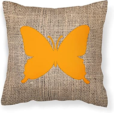 Caroline's Treasures BB1046-BL-OR-PW1414 Butterfly Burlap and Orange Canvas Fabric Decorative Pillow BB1046, 14Hx14W, Multicolor