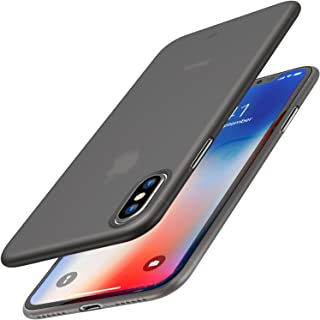 TOZO iPhone X Case, Ultra Thin Hard Cover [0.35mm] World's Thinnest Protect Bumper Slim Fit Shell iPhone 10/X [ Semi-Transparent ] Lightweight [Matte Black]