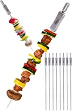 "FLAFSTER KITCHEN Skewers for Grilling- 16"" Long Flat BBQ Skewers with Push Bar- Shish Kabob Skewers - Stainless Steel Skew..."