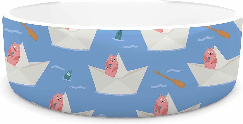 KESS InHouse Cristina Bianco Design Paper Cat Pattern  Coral bluee Pet Bowl, 7