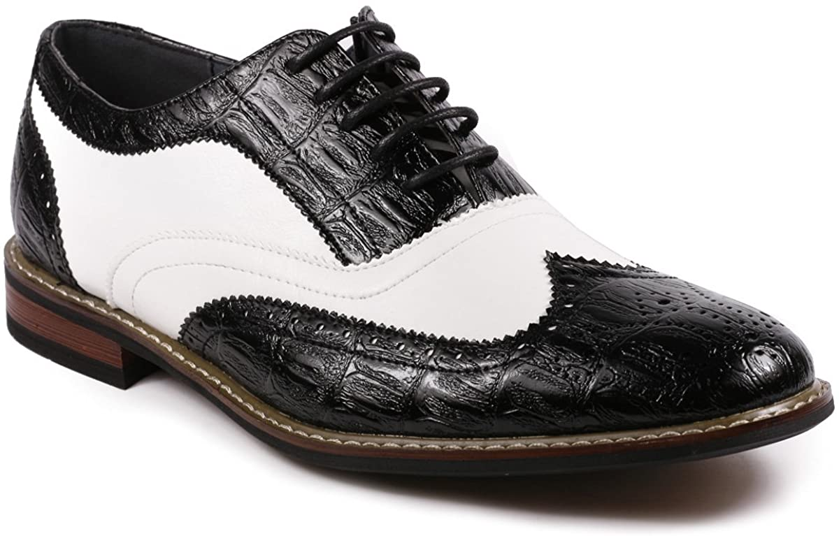 Metrocharm Frank-03 Men's Two Tone Wing Tip Perforated Lace Up Oxford Dress Shoes
