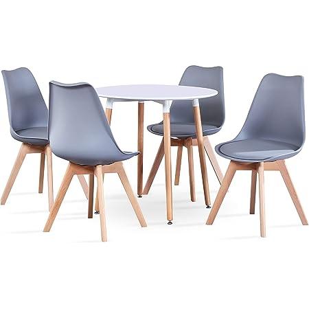 BenyLed Table de Salle à Manger Ronde avec 4 Chaises de Cuisine Moderne et Chaises de Tulipes Rembourrées Ensemble de Meubles pour la Mmaison, Le Bureau, la Cuisine, Le Balcon (Blanc+Gris)