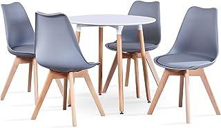 BenyLed Table de Salle à Manger Ronde avec 4 Chaises de Cuisine Moderne et Chaises de Tulipes Rembourrées Ensemble de Meub...