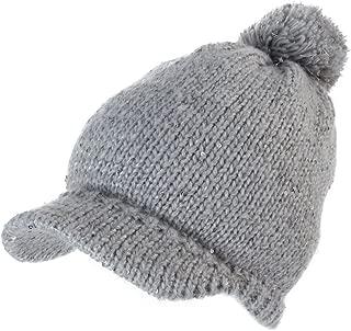 Jeff & Aimy Knit Visor Beanie Winter Hat Women Acrylic Newsboy Cap Fleece Lined
