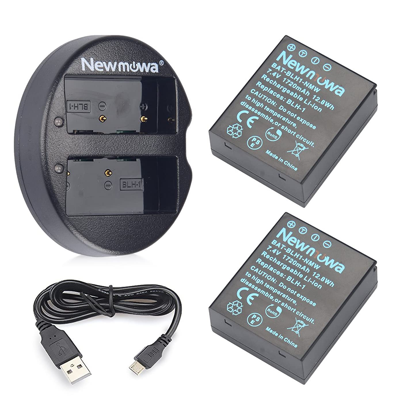 Newmowa BLH-1 Replacement Battery (2 Pack) and Dual USB Charger for Olympus BLH-1 and Olympus EM1 Mark II Camera(Half-Decoded)