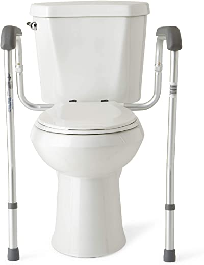 Medline Toilet Safety Rails, Safety Frame for Toilet with Easy Installation, Height Adjustable Legs, Bathroom Safety, Foam Armrests, Easy to Clean, Aluminum Frame, 250lb. Weight Capacity