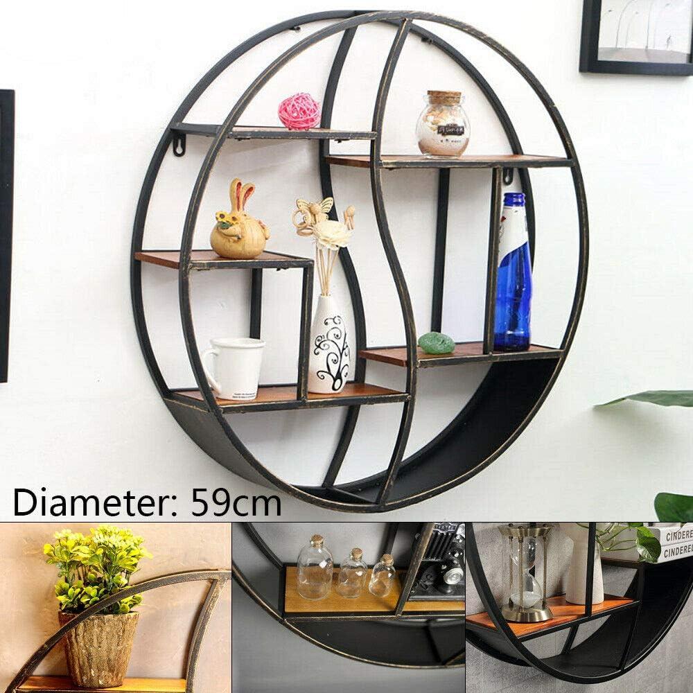 Estanter/ía redonda de metal para pared vintage 59 cm estanter/ía de almacenamiento redonda de metal estanter/ía de pared vintage Loft estanter/ía de flores estanter/ía de pared