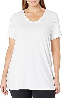 Amazon Essentials Women's Plus Size Tech Stretch Short Sleeve V-Neck T-Shirt